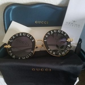 Gucci Black & Gold 'L'Aveugle Sunglasses